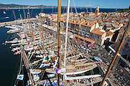 "FRANCE, Saint Tropez, October 3rd 2008, Les Voiles de Saint Tropez, The fleet in harbour (from the mast of J Class Yacht ""Velsheda"")"