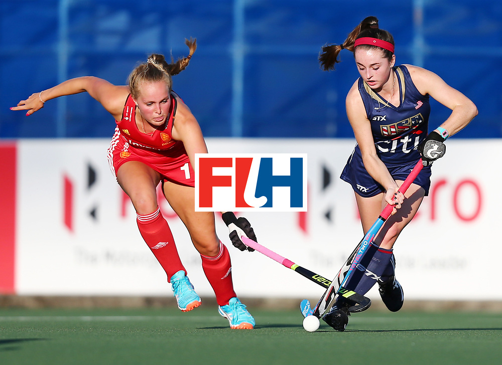 New Zealand, Auckland - 23/11/17  <br /> Sentinel Homes Women&rsquo;s Hockey World League Final<br /> Harbour Hockey Stadium<br /> Copyrigth: Worldsportpics, Rodrigo Jaramillo<br /> Match ID: 10305 - USA vs ENG<br /> Photo: (1) MATSON Erin against (16) DEFROAND Emily
