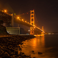 Night shot of the iconic and beautiful Golden Gate Bridge in San Fran, shot on long exposure.