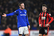 Wayne Rooney (10) of Everton is upset with a refereeing decision during the Premier League match between Bournemouth and Everton at the Vitality Stadium, Bournemouth, England on 30 December 2017. Photo by Graham Hunt.