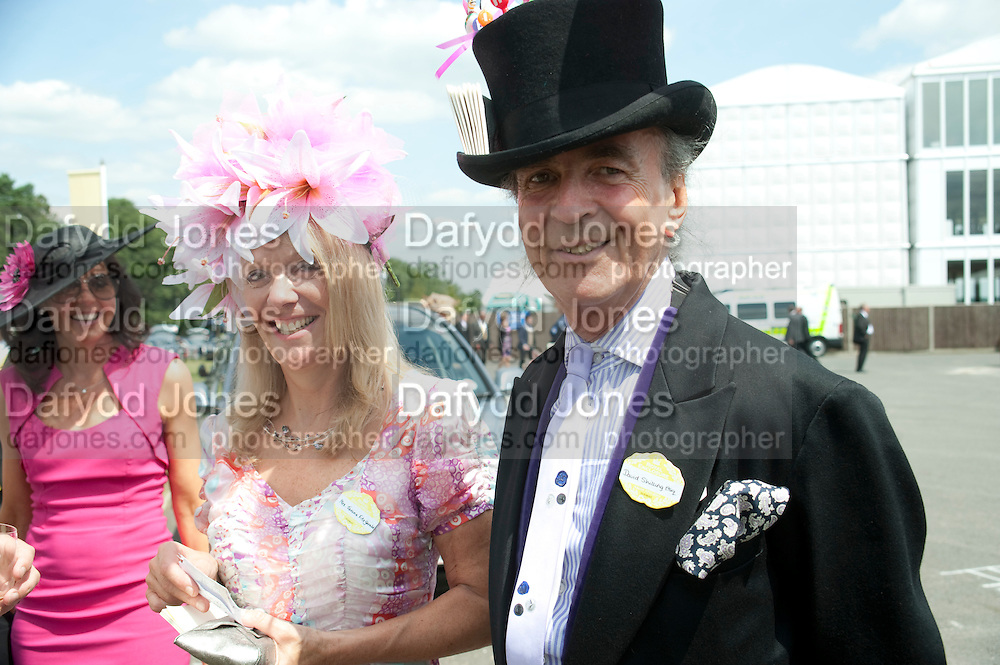 MRS. JANINE FITZGERALD, HATMAKER; DAVID SHILLING, Royal Ascot. Tuesday. 14 June 2011. <br /> <br />  , -DO NOT ARCHIVE-© Copyright Photograph by Dafydd Jones. 248 Clapham Rd. London SW9 0PZ. Tel 0207 820 0771. www.dafjones.com.