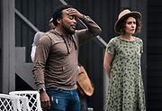 """Gavin Lawrence, left, rehearses a scene from William Shakespeare's """"Twelfth Night"""" at American Players Theatre in Spring Green, WI on Thursday, May 16, 2019."""
