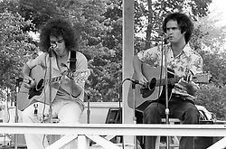 Bill Seiden and Paul Zimmerman in Acoustic Concert on 24 June 1977. On the Milford Green, Milford, Connecticut.