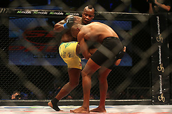 Sindile Manengela (Red) catches Tumisang Madiba (Blue) attempted kick during the eighth bout of the Extreme Fighting Championships, EFC 52 held at the Grand West Casino in Cape Town, South Africa on the 5th August 2016<br /> <br /> Photo by:   Shaun Roy / Real Time Images
