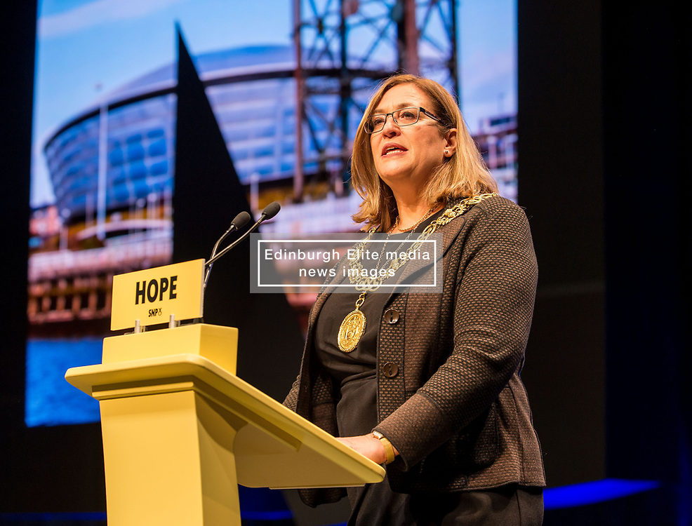 Pictured: Glasgow Lord Provost Eva Bolander officially opens the conference.<br /> <br /> The first day of the SNP autumn conference at the SEC in glasgow.<br /> <br /> © Dave Johnston / EEm