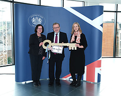 Scottish Secretary of State David Mundell received the keys to the new UK Government building in Edinburgh.<br /> <br /> The new hub is due to open in early 2020 and bring together nearly 3,000 UK Government civil servants.<br /> <br /> Pictured: (l to r) Gillian McGregor (Director, Office of the Secretary of State for Scotland), David Mundell MP and Victoria Bowman (Deputy Director, Office of the Secretary of State for Scotland) <br /> <br /> Alex Todd | Edinburgh Elite media