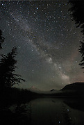 The Milky Way over Lost Lake with Mt. Hood in the background.
