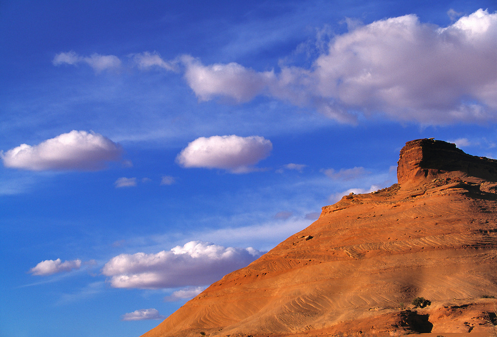A butte looks to the west in Monument Valley, Utah.