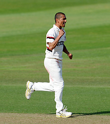 Somerset's Alfonso Thomas celebrates the wicket of Nottinghamshire's Will Gidman. - Photo mandatory by-line: Harry Trump/JMP - Mobile: 07966 386802 - 14/06/15 - SPORT - CRICKET - LVCC County Championship - Division One - Day One - Somerset v Nottinghamshire - The County Ground, Taunton, England.