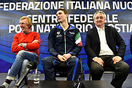 Roma 13-3-2019 Centro Federale di Ostia <br /> Swimmer Manuel Bortuzzo (c), his father Franco (l) and italian swimming federation president Paolo Barelli (r) during a meeting with the press. Manuel Bortuzzo was shot in the back due to a mistaken identity and is paralysed from the waist down since then. This is the first outing of Manuel from the hospital and the rehabilitation center.  <br /> Foto Andrea Staccioli / Deepbluemedia / Insidefoto