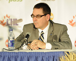 QMJHL Commissioner and CHL Vice-President Gilles Courteau at the Canadian Hockey League media conference at the MasterCard Memorial Cup in Brandon, MB on Friday. Photo by Aaron Bell/CHL Images