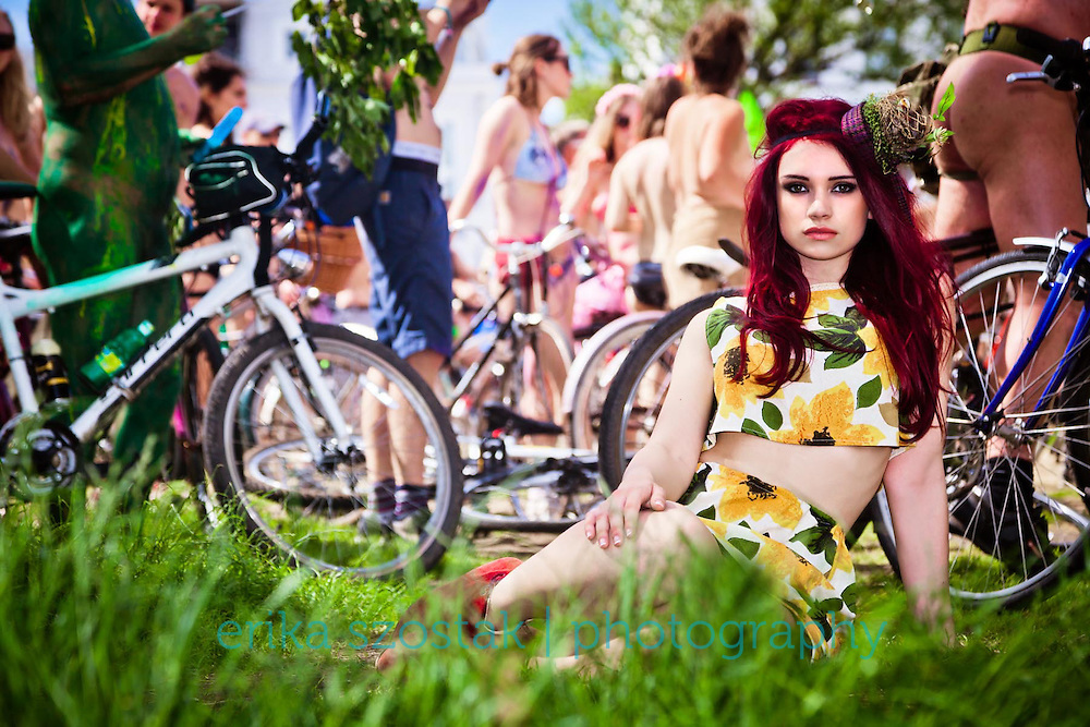 Overdressed at the Brighton Naked Bike Ride 2014<br /> Styling: Laura Powell | Hearts and Guns<br /> Hair: Raf Blosinski<br /> Makeup: Cornelia Page<br /> Model: Laura Hunter<br /> Photographer's Assistant: Jason Balchin