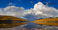 Panoramic of Bowman Lake in autumn in Glacier National Park, Montana, USA
