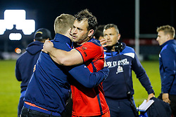 Bristol Rugby Full Back Luke Arscott and his teammates cautiously celebrate after Bristol Rugby win 13-28 to take a 15 point lead into the second leg of the Final - Mandatory byline: Rogan Thomson/JMP - 18/05/2016 - RUGBY UNION - Castle Park - Doncaster, England - Doncaster Knights v Bristol Rugby - Greene King IPA Championship Play Off FINAL 1st Leg.