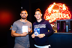 Bailey Wright and Josh Brownhill in action as Bristol City players visit the Belong by GAME gaming arena to play the new FIFA 18 - Rogan/JMP - 27/09/2017 - Merchant Street - Bristol, England.