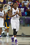 FORT WORTH, TX - JANUARY 4: Chauncey Collins #1 of the TCU Horned Frogs looks on against the West Virginia Mountaineers on January 4, 2016 at Ed and Ray Schollmaier Arena in Fort Worth, Texas.  (Photo by Cooper Neill/Getty Images) *** Local Caption *** Chauncey Collins
