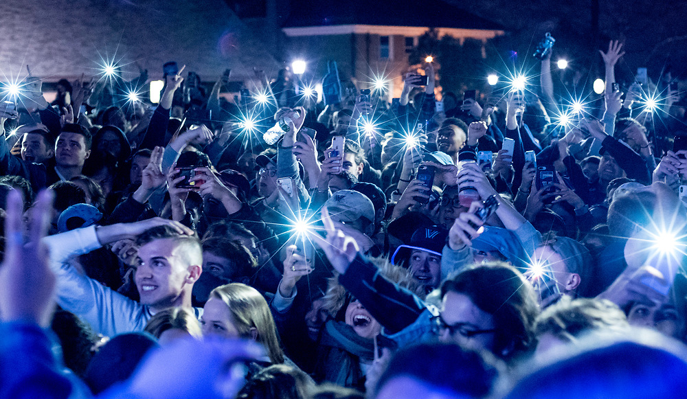 Villanova University students celebrate on their campus as Villanova win the NCAA National Basketball Championship. Villanova, Pennsylvania. April 2, 2018. <br /> <br /> Jack Megaw. All Rights Reserved.
