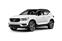 White 2019 Volvo XC40 T5 AWD R-Design Luxury car SUV isolated on white studio background with clipping path