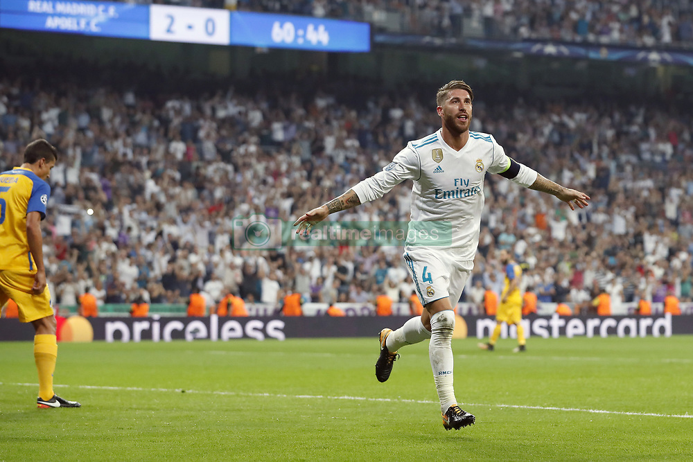 (L-R) Jesus Rueda of APOEL FC, Sergio Ramos of Real Madrid during the UEFA Champions League group H match between Real Madrid and APOEL FC on September 13, 2017 at the Santiago Bernabeu stadium in Madrid, Spain.