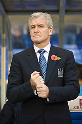 BIRMINGHAM, ENGLAND - Sunday, November 1, 2009: Manchester City's manager Mark Hughes during the Premiership match against Birmingham City at St Andrews. (Pic by David Rawcliffe/Propaganda)