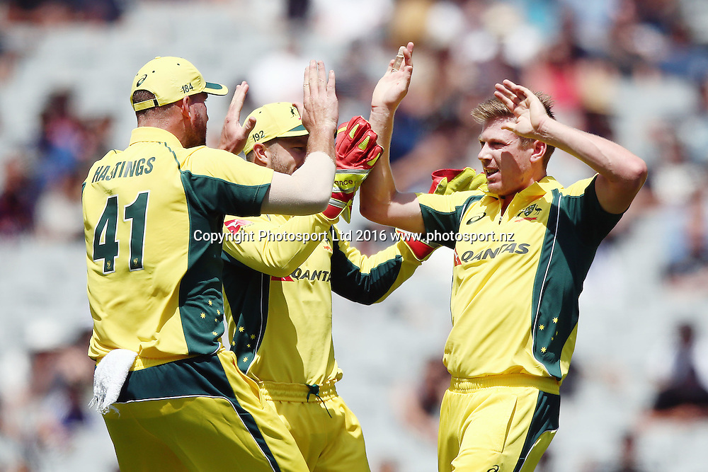 James Faulkner of Australia celebrates his wicket of Brendon McCullum of New Zealand. ANZ International Series, 1st ODI between New Zealand Back Caps and Australia at Eden Park in Auckland, New Zealand. 3 February 2016. Photo: Anthony Au-Yeung / www.photosport.nz