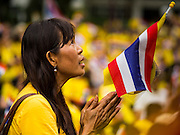 05 DECEMBER 2014 - BANGKOK, THAILAND: A woman looks up to the hospital of Bhumibol Adulyadej, the King of Thailand, at Siriraj Hospital Friday. Thais marked the 87th birthday the King. The revered Monarch was scheduled to make a rare public appearance in the Grand Palace but cancelled at the last minute on the instructions of his doctors. He has been hospitalized in Siriraj Hospital, across the Chao Phraya River from the Palace, since early October.    PHOTO BY JACK KURTZ