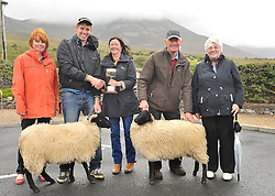 Carol Ferson is pictured presenting the Austin Grady Memorial Cup to Padraig O'Malley from Culleen Killsallagh for Best  Ewe lambs at the Murrisk Pattern day on sunday last, alongside are Teresa Dennany, Pete O'Malley and Cathy Grady.<br /> Pic Conor McKeown