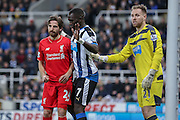 Newcastle United midfielder Moussa Sissoko , Liverpool midfielder Joe Allen  and Newcastle United goalkeeper Robert Elliot   during the Barclays Premier League match between Newcastle United and Liverpool at St. James's Park, Newcastle, England on 6 December 2015. Photo by Simon Davies.