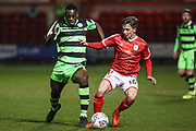Forest Green Rovers Isaiah Osbourne(34) and Crewe Alexandra's Tom Lowery(16) challenge for the ball during the EFL Sky Bet League 2 match between Crewe Alexandra and Forest Green Rovers at Alexandra Stadium, Crewe, England on 20 March 2018. Picture by Shane Healey.