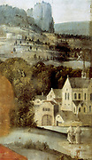 Christ's Passion (Triptych known as Altarpiece of St Antony) Detail: Landscape of Abbey on river with watergate and two Carmelite friars (Whitefriars); postmill right background.  Anonymous 16th century: Oil on wood. Church of St Nicolas, Tallin.