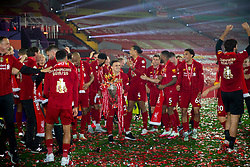 LIVERPOOL, ENGLAND - Wednesday, July 22, 2020: Liverpool's Xherdan Shaqiri celebrates with the Premier League trophy after the Reds are crowned Champions after the FA Premier League match between Liverpool FC and Chelsea FC at Anfield. The game was played behind closed doors due to the UK government's social distancing laws during the Coronavirus COVID-19 Pandemic. Liverpool won 5-3. (Pic by David Rawcliffe/Propaganda)