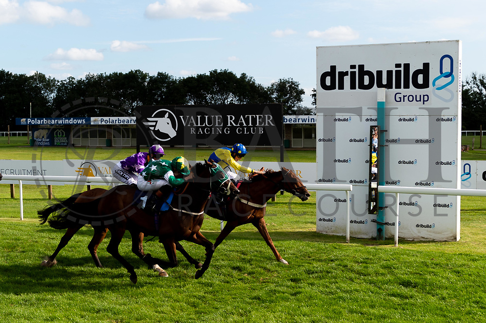 Cuttin' Edge ridden by Harry Bentley and trained by William Muir in the  race. Sir Plato ridden by Finley Marsh and trained by Rod Millman in the  race. Zefferino ridden by George Wood and trained by Martin Bosley in the  race.  - Ryan Hiscott/JMP - 21/08/2019 - PR - Bath Racecourse - Bath, England - Race Meeting at Bath Racecourse