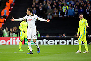 Tottenham Hostpur midfielder Deli Alli (20) with arms open  during the Europa League match between Tottenham Hotspur and KAA Gent at Wembley Stadium, London, England on 23 February 2017. Photo by Matthew Redman.