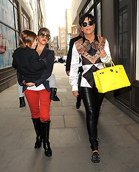 Kourtney Kardashian, son Mason and mother Kris Jenner out shopping in London. The Kardashian's shopped at Hamleys toy store, Browns shoe store and Selfridges where looked at giant Chanel hula hoop bag. After all that shopping they went to the Novikov restaurant in Mayfair. UK. 24/04/2013<br />BYLINE MUST READ : GOTCHAIMAGES.COM<br /><br />Copyright by © Gotcha Images Ltd. All rights reserved.<br />Usage of this image is conditional upon the acceptance <br />of Gotcha Images Ltd, terms and conditions available at<br />www.gotchaimages.com
