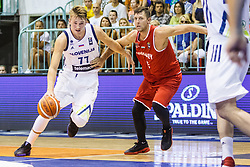 Luka Doncic of Slovenia during friendly basketball match between National teams of Slovenia and Hungary on day 1 of Adecco Cup 2017, on August 4th in Arena Tabor, Maribor, Slovenia. Photo by Grega Valancic/ Sportida