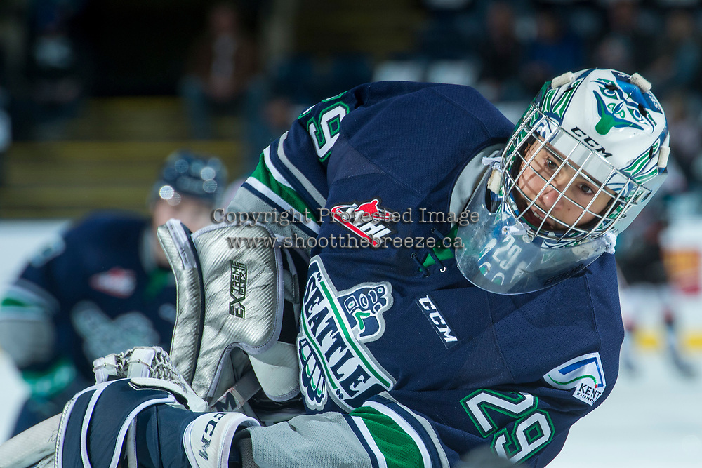 KELOWNA, CANADA - APRIL 25: Matt Berlin #29 of the Seattle Thunderbirds skates during warm up against the Kelowna Rockets on April 25, 2017 at Prospera Place in Kelowna, British Columbia, Canada.  (Photo by Marissa Baecker/Shoot the Breeze)  *** Local Caption ***