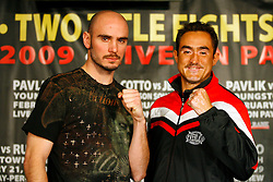 Jan 13, 2009; New York, NY, USA; World Middleweight Champion Kelly Pavlik and challenger Marco Antonio Rubio pose at the press conference announcing their February 21, 2009 fight.  The two fighters will meet at the Chevrolet Center in Youngstown, Ohio.