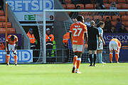 Blackpool miss  during the EFL Sky Bet League 1 match between Blackpool and Accrington Stanley at Bloomfield Road, Blackpool, England on 25 August 2018.
