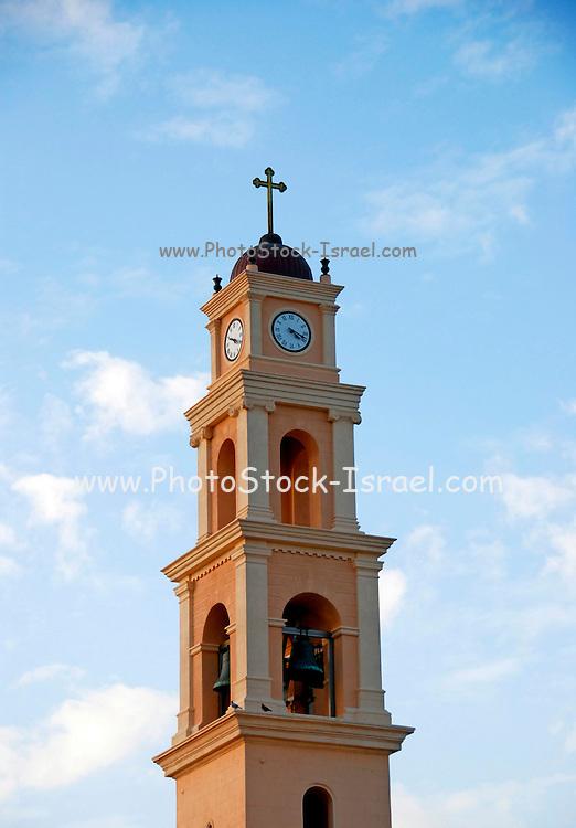 Israel, Tel Aviv, Jaffa Steeple of St Peter church