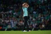 Sam Curran of Surrey during the NatWest T20 Blast South Group match between Surrey County Cricket Club and Warwickshire County Cricket Club at the Kia Oval, Kennington, United Kingdom on 25 August 2017. Photo by Dave Vokes.
