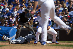 September 3, 2017 - Chicago, IL, USA - Chicago Cubs relief pitcher Justin Grimm (52) throws to Chicago Cubs first baseman Anthony Rizzo (44) to try to get Atlanta Braves center fielder Ender Inciarte (11) at first during the seventh inning on Sunday, Sept. 3, 2017 at Wrigley Field in Chicago, Ill. (Credit Image: © Erin Hooley/TNS via ZUMA Wire)