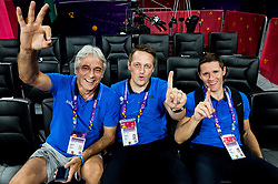 Miljan Grbovic, assistant coach of Slovenia, Aleksander Sekulic, assistant coach of Slovenia and Jaka Lakovic, assistant coach of Slovenia after the basketball match between National Teams of Slovenia and Spain at Day 15 in Semifinal of the FIBA EuroBasket 2017 at Sinan Erdem Dome in Istanbul, Turkey on September 14, 2017. Photo by Vid Ponikvar / Sportida