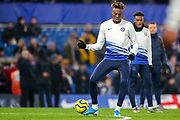 Chelsea forward Tammy Abraham (9) warms up during the Premier League match between Chelsea and Arsenal at Stamford Bridge, London, England on 21 January 2020.