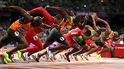 File photo dated 05-08-2012 of Jamaica's Usain Bolt (third left) at the start of the 100m final at the Olympic Stadium, London.