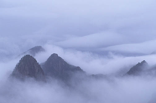 China, mountains, Fog enshrouds the Yellow mountains.