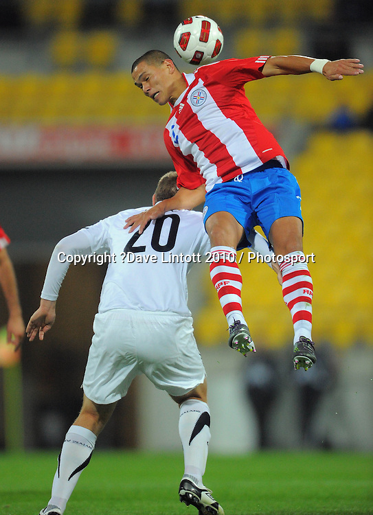 Paraguay's Dario Veron wins the ball over Chris Wood. International football friendly - New Zealand All Whites v Paraguay at Westpac Stadium, Wellington on Tuesday, 12 October 2010. Photo: Dave Lintott / photosport.co.nz