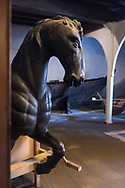 A horse sculpture on display at the ship pavilion of the Museo Storico Navale di Venezia, in Venice, Italy