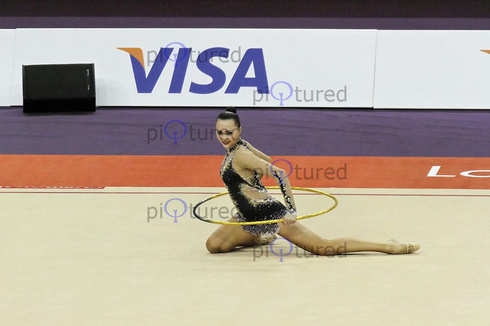 LONDON - JANUARY 18:  Visa International Rhythmic Gymnastics - Hoop Individual All Round Final - London 2012 Olympics Test Event at the North Greenwich Arena, London, UK on January 18, 2012. (Photo by Richard Goldschmidt)