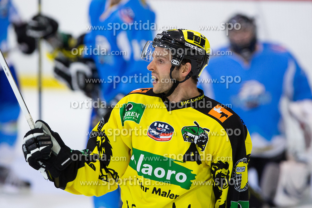 Christoph Eiler (EHC Palaoro Lustenau, #25) celebrates scoring a goal during Inter National League ice hockey match between HK Triglav Kranj and EHC Palaoro Lustenau, on October 7, 2012 in Ledena Dvorana, Kranj, Slovenia. (Photo by Matic Klansek Velej / Sportida.com)