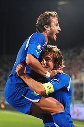 07.09.2010, Stadio Artemio Franchi, Florenz, ITA, UEFA 2012 Qualifier, Italia v Faer Oer, im Bild Esultanza di Alberto GILARDINO dopo il gol con Andrea Pirlo.Alberto Gilardino celebrates scoring.EXPA Pictures © 2010, PhotoCredit: EXPA/ InsideFoto/ Andrea Staccioli *** ATTENTION *** FOR AUSTRIA AND SLOVENIA USE ONLY! / SPORTIDA PHOTO AGENCY